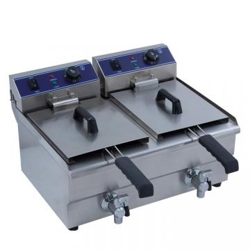Kitchen Equipment 16+16LTR Commercial Electric Double Flat Chicken Fryer with Drain Taps